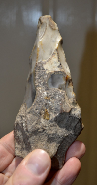 "An excellent Paleolithic ""Small Ficron"" flint hand axe from Sussex."
